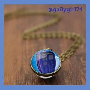 Jewelry - Doctor Who Police Box Tardis Glass Ball Necklace
